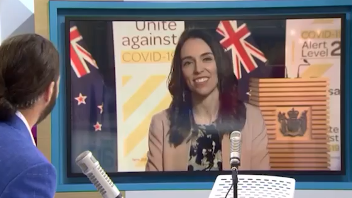 New Zealand Prime Minister Jacinda Ardern's live TV interview interrupted by natural disaster